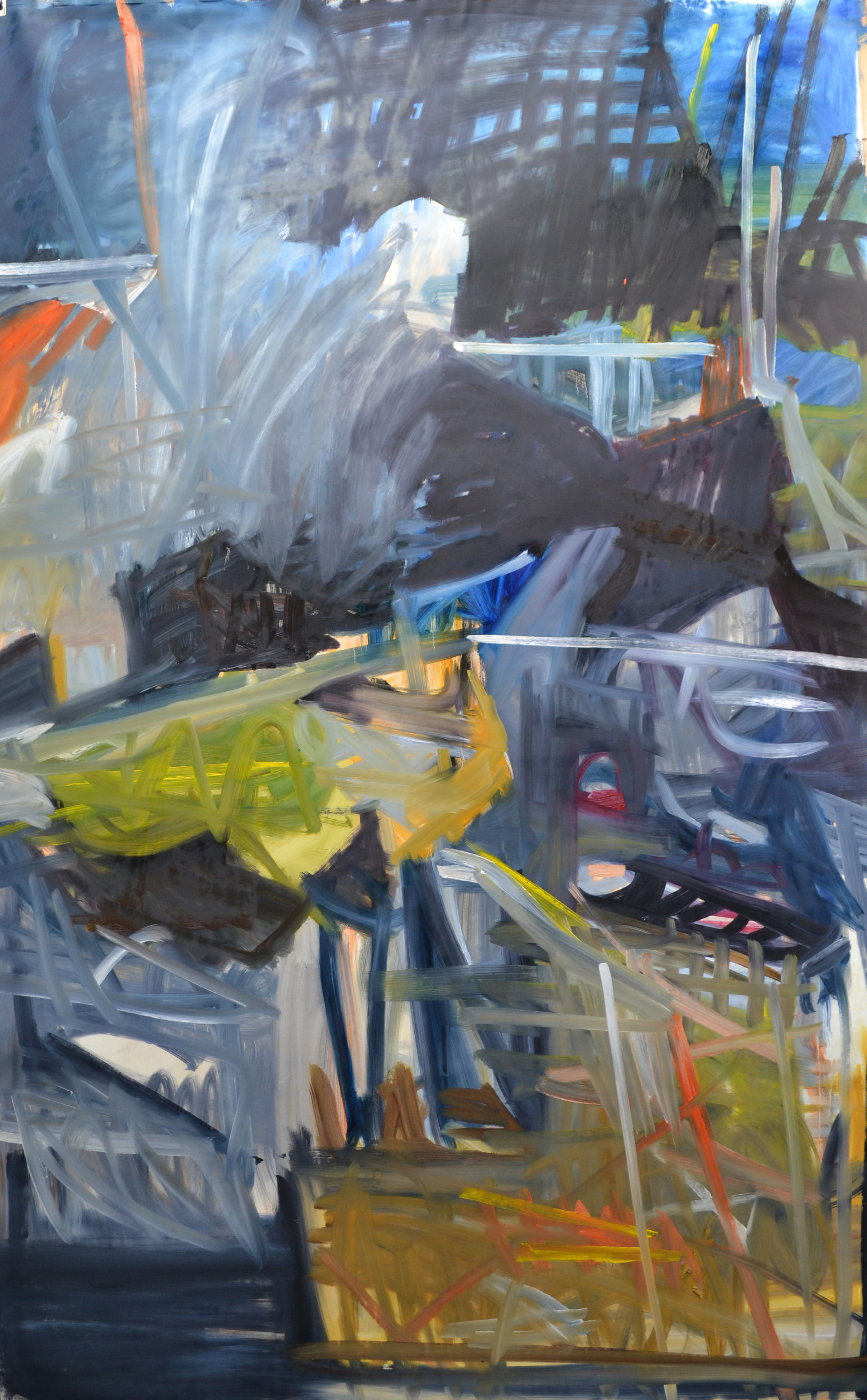 Studio 4, 2016-17. 210 x 140 cm, oil on paper.